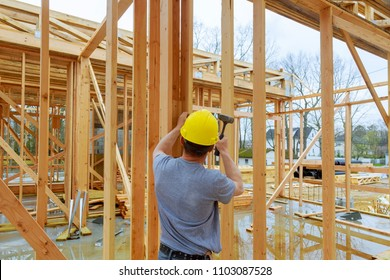 Construction crew working on of a new, commercial apartment building