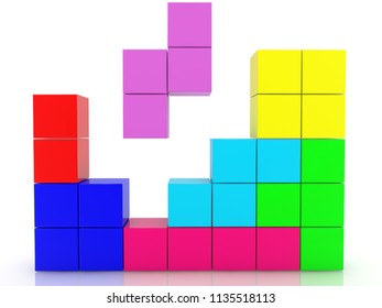 Construction of cubes in different colors.3d illustration