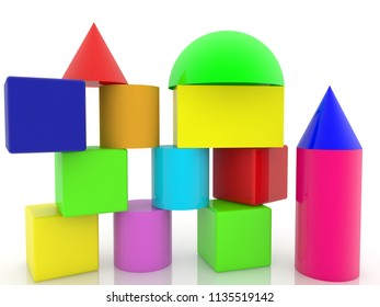 Construction of cubes with roofs.3d illustration