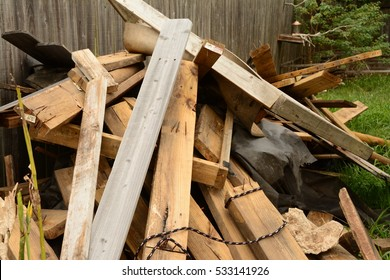 Construction debris at home remodel site