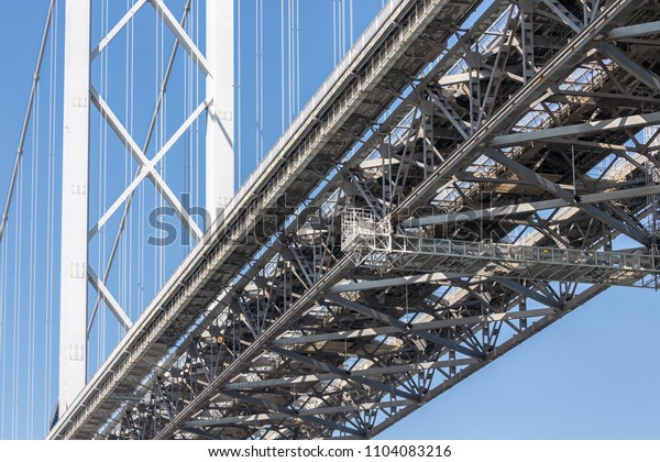 Construction detail bottom Forth Road Bridge over Firth of Forth near Queensferry in Scotland