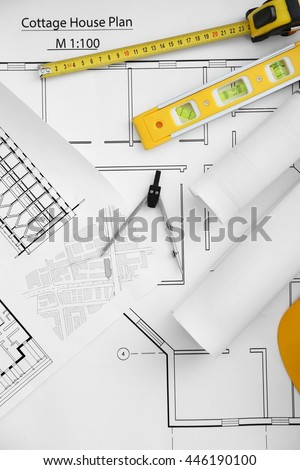 Construction Drawings Engineering Tools Top View Stock Photo