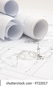 construction drawings at engineer`s workplace