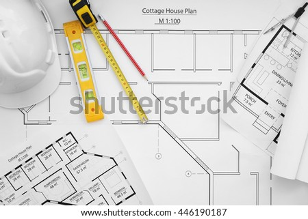 Construction Drawings Tools Top View Stock Photo (Edit Now