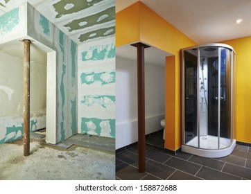 Construction of Drywall-Plasterboard bathroom Before and after