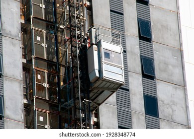 Construction Elevator of a High Rise Building
