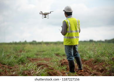 Construction engineer control aircraft  survey land for real estate development