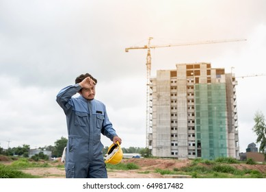 Construction engineer Tired workers