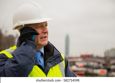 Construction Engineer Using Cell / Mobile Phone