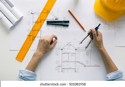 Construction engineer working on project. Engineering concept.