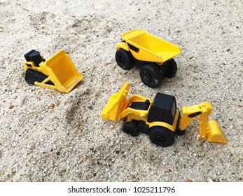 Construction engineering Concept. Excavator Toy work at construction site.