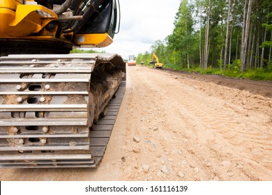 Construction equipment during road works