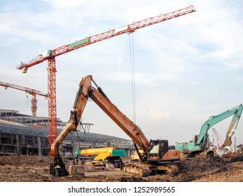construction equipment on large construction site