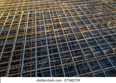Construction fittings. Steel reinforcing lattice. - Shutterstock ID 377682739