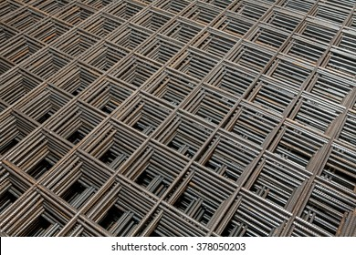 Construction fittings. Steel reinforcing lattice. - Shutterstock ID 378050203