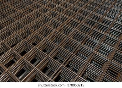 Construction fittings. Steel reinforcing lattice. - Shutterstock ID 378050215