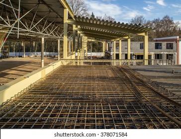 Construction fittings. Steel reinforcing lattice. - Shutterstock ID 378071584