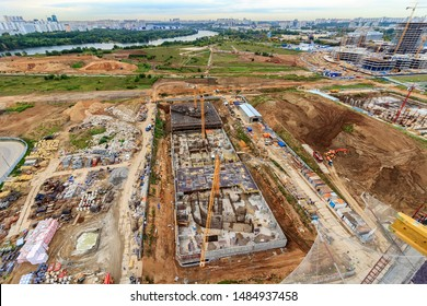 Construction of foundation, stylobate part of residential high-rise building. construction of concrete foundation of building, horizontal. Concrete slab foundation building. foundation of reinforced