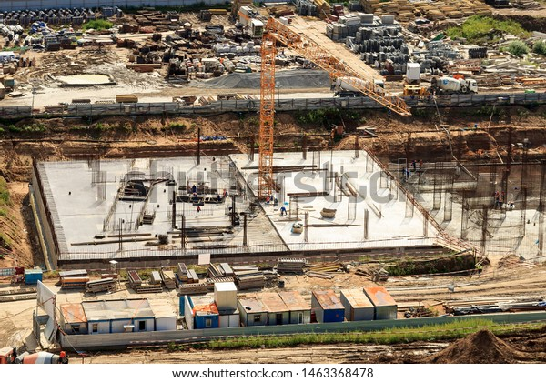Construction Foundation Stylobate Part Residential Highrise Stock
