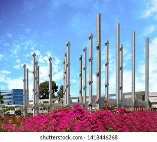 Construction of the frame of an industrial building in the technical area of the city of Holon in Israel