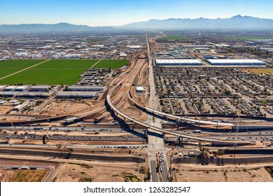 Construction of freeway and Interchange at Interstate 10 and 51st Avenue in Phoenix, Arizona from above