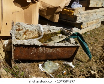 Construction garbage waste. Pile of waste, junk, garbage removal hazardous waste. Removal debris, building demolition.