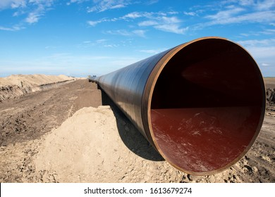 Construction of gas pipeline. Energy pipe construction site.