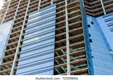 construction and glazing of a high-rise building