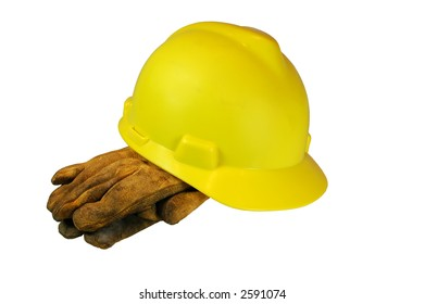 Construction Hard Hat and Safety Gloves