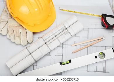 Construction Hardhat And Blueprint