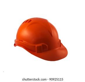 Construction helmet orange isolated