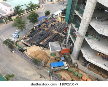 construction of high rise building - builders at work
