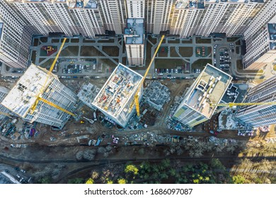 construction of high-rise apartment buildings. urban construction concept. top view aerial photo from flying drone