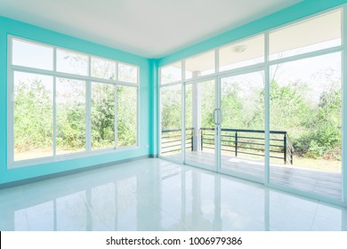 Construction Home Empty Room Blue color interior window white aluminum on wall
