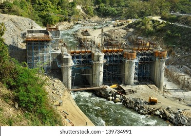 Construction of Hydro Power Stations on the river Alaknanda near Rudraprayag. Uttarakhand, India