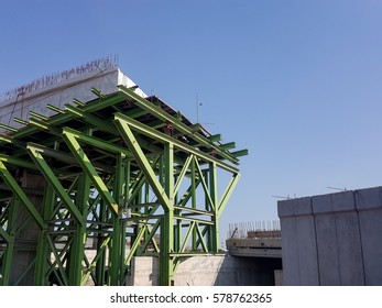 Construction incompleted, steel structure for supporting of concrete bridge
