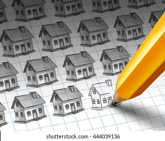 Construction increase and growing residential community concept as a sketch with multiple homes and a pencil drawing more homes as a real estate or housing investment  with 3D illustration elements.