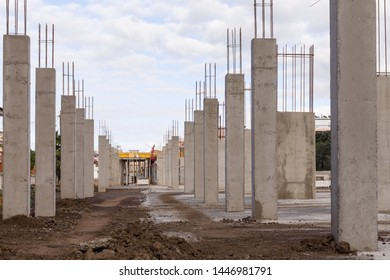 construction of a industrial building site with a line of concrete columns and reinforcing steel