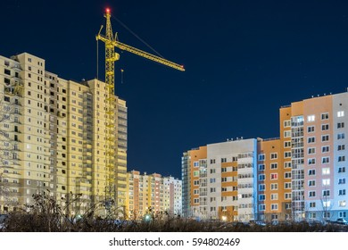construction Industrial Crane operating bilding and lifting business center and house