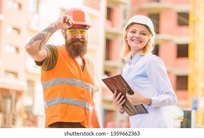 Construction industry. Foreman established supply of building materials. Expert and builder communicate about supply building materials. Successful deal concept. Purchase of building materials.