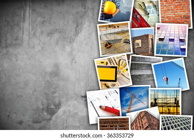 Construction industry themed photo collage with stacked pictures over cement concrete wall texture as copy space.