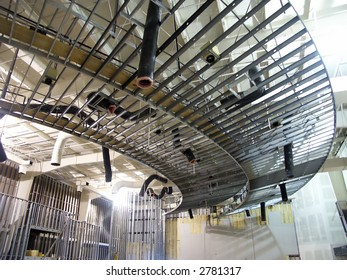 Construction of interior of commercial building with metal framing.