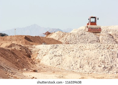 Construction landscape with heap of sand