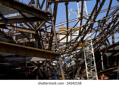 Construction of a large building with many steal beams.