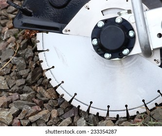 Construction machine circular saw blades concrete or asphalt cutter, industrial detail