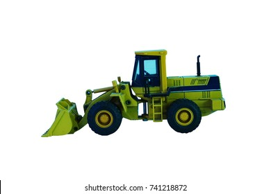 Construction Machine Vehicle Tractor Toy Model Isolated White Background With Clipping Mask