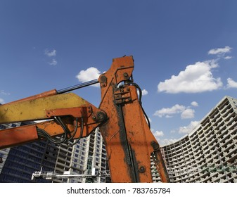 Construction machinery, high and heavy construction machinery  against the background of the building under construction