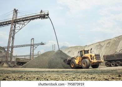 Construction Machines Dozer in open mine