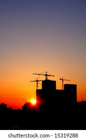Construction of a major housing project at sunset. Saint-Petersburg, Russia