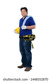 construction man workers in blue shirt with Protective gloves, helmet with tool belt isolated on white backround with clipping path